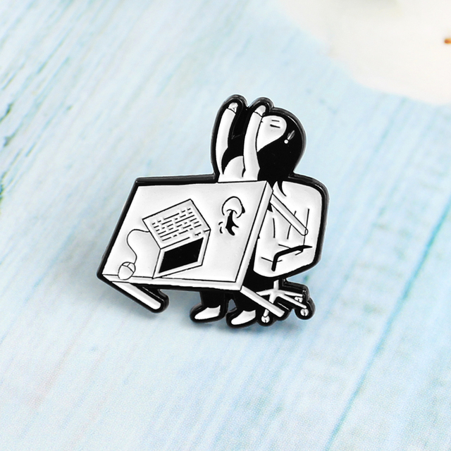 Creative Office Tired Girl Brooch Anxiety Angry Girl Overturn Table Computer Coffee Enamel Lapel Pin Jackets backpack Badge Gift