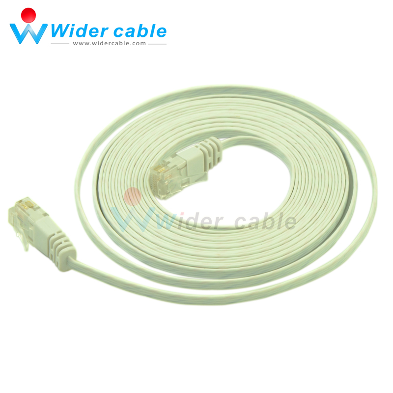 14ft White Color RJ45 to RJ45 Flat CAT6 Internet Lan Wire Cat6 Cable ...
