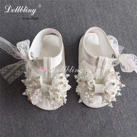 Vitage Palace White Christening Baby Summer shoes Lace Pearls Sewing Infant Baptism Bella Bride Shoes Handmade Ruffle Shoes