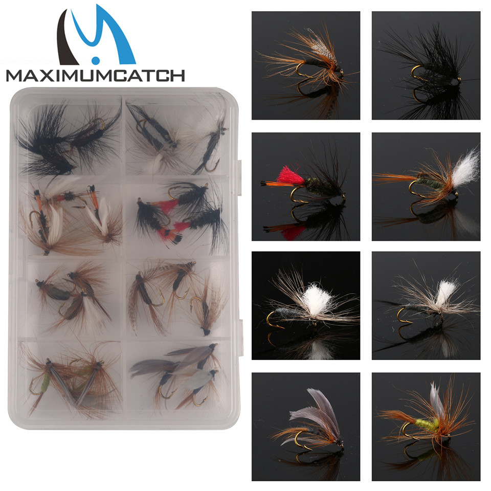 Maximumcatch 24Pieces Mixed Dry Flies Pack/set Feather Bait Hook Fly Flies Fish Hook Lures Fishing Flies winnie flies again