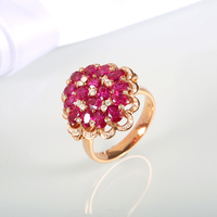 Lady Finger Rings for Women 2016 Brand New Blooming Flower Shape Ruby Ring Jewelry 18K Rose Gold Engagement Ring