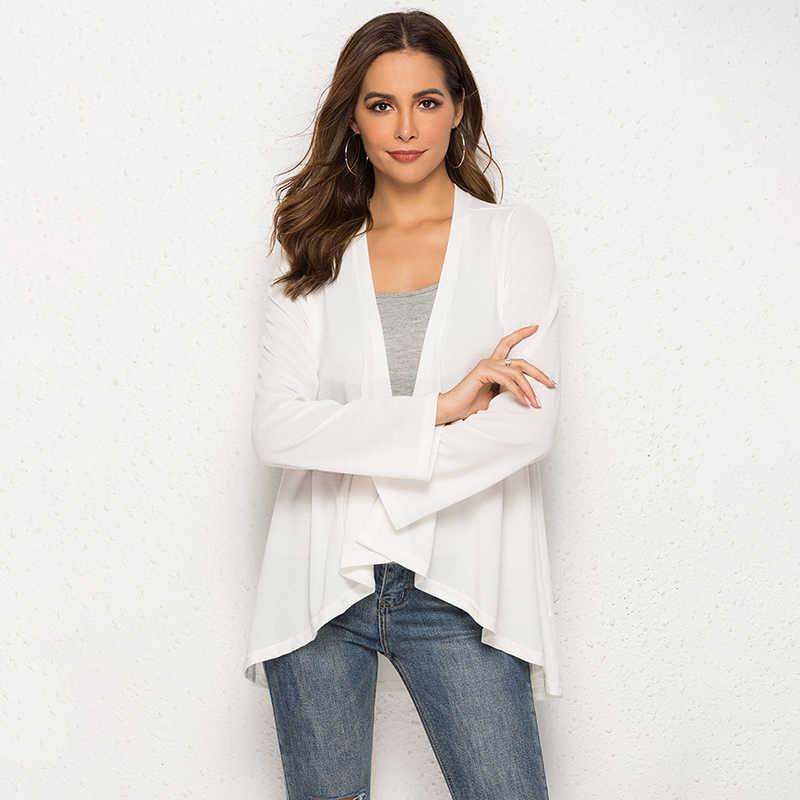 חדש אירופאי נשים דק קימונו קרדיגן ארוך שרוול Loose סדיר Hem ארוך קרדיגן נשים הלבשה עליונה בתוספת גודל שחור/אפור /לבן