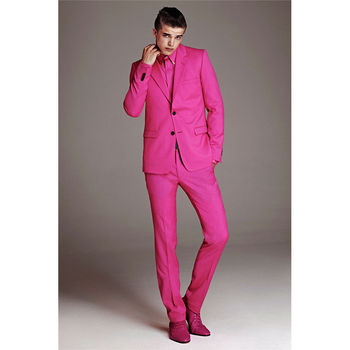 Custom Made New Style Men's Slim Fit Suit Pink Business Formal Party Wedding Tuxedos Groom Suits Men Suits (Jacket+Pants)