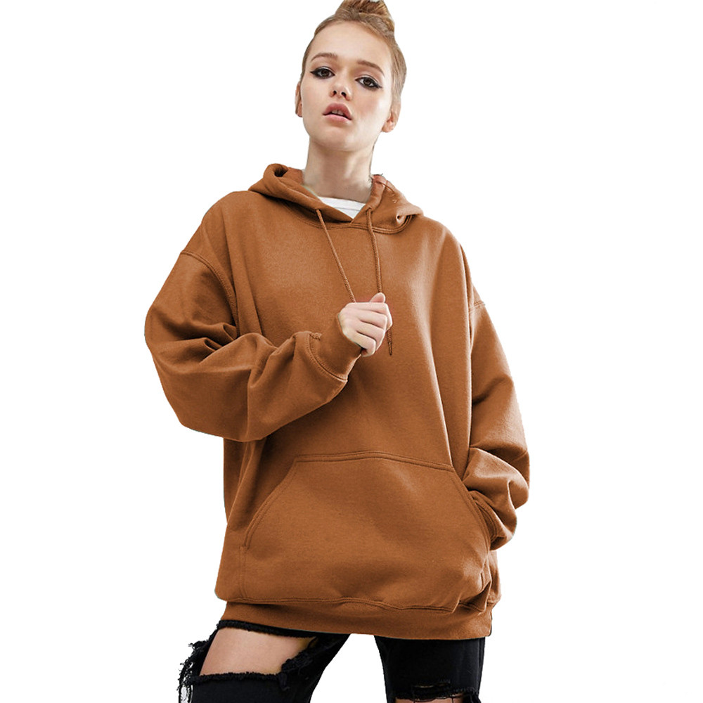 2017 Women Long Sleeve Hoodie Sweatshirt Sweatershirt Casual Hooded Coat Red Brown Color