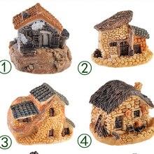 Коттедж каменный ремесел смолы стили фея миниатюрный пейзаж микро корабль дом
