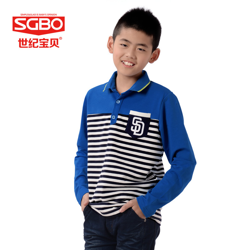 ФОТО 155-170cm Fashion Boy Long Sleeve Tops SGBO Brand Minion Blue Kids Stripe T-shirt Boys Clothes Children School T Shirts 6D3027