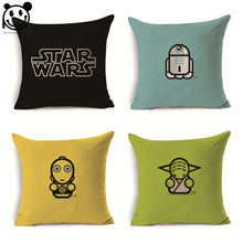 PEIYUAN Star Wars Kartun Sarung Bantal Linen Dicetak Persegi Plain Cushion Dekorasi Sampul