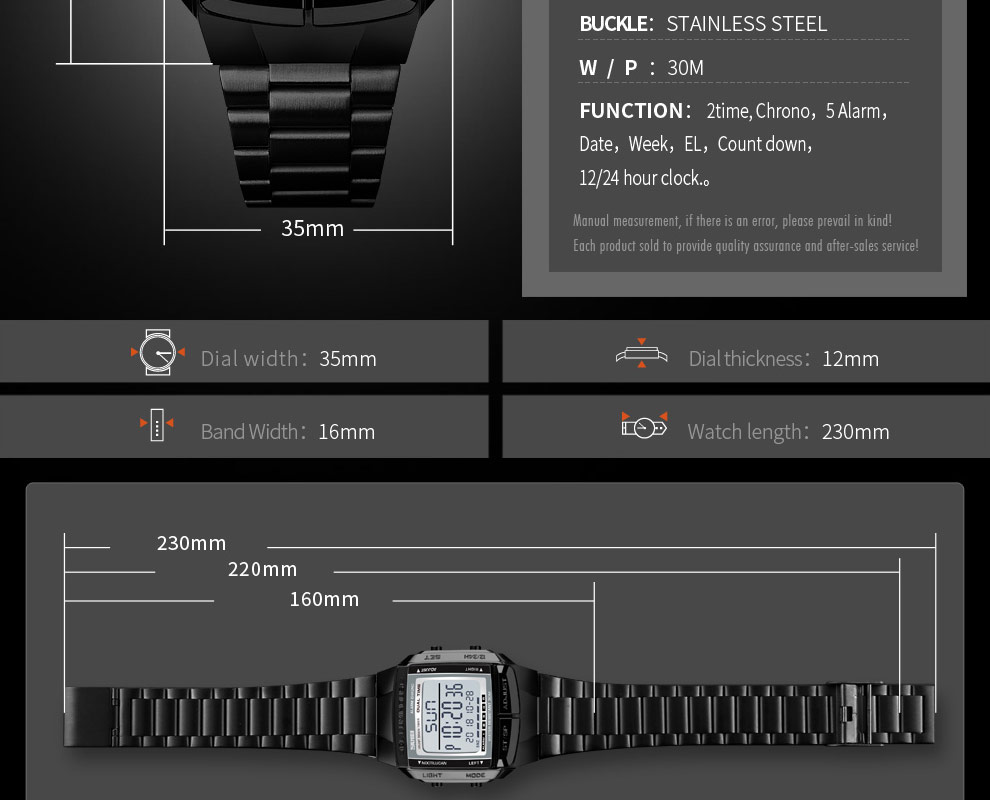 SKMEI Sports Watch Men Digital Watch Alarm Clock Countdown Watch Large Dial Glass Mirror Clock Fashion Outdoor Relogio Masculino 20