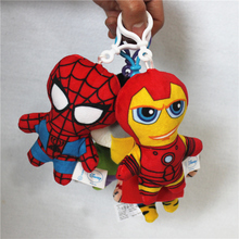 12pcs 12cm The Avengers Spider man Iron Man Thor plush pendant Dolls birthday christmas party Gift