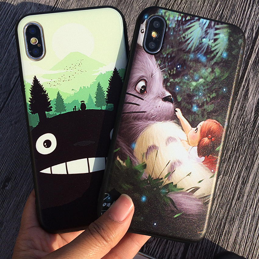 TPU+Hard PC Couple Lovers Cover Phone Case For Apple Iphone 8 8Plus Cases For Iphone 7 6S 5S Plus Pattern Darling Cozy Totoro