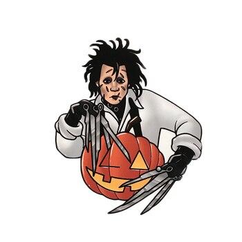 Carver manos pin inspiradas en película tijeras manos adward johnny dep horror hombre halloween calabaza insignia