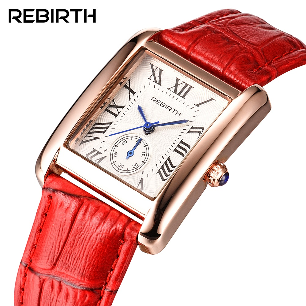 REBIRTH 2018 New Women Watches Luxury Brand Elegant Retro Leather Quartz Watch Female Rose Gold Ladies Wristwatches Montre Femme black 20mm band width rubber wrist watch band strap stainless steel pin buckle 2 spring bars