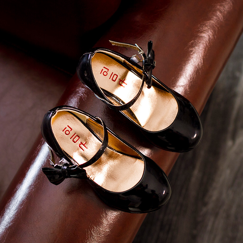 JG Чен 2016 Девушки ПУ Кожа Shoes Fashion Party Танцы Shoes For Medium Дети С Высокой Пятки Принцесса Дети Одного Shoes