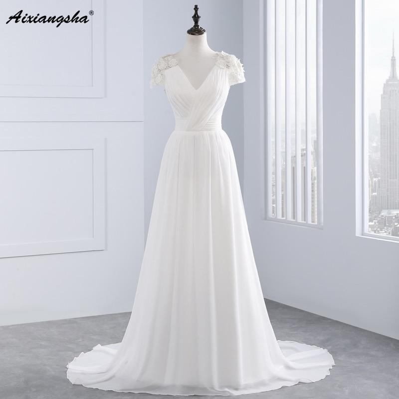 2017 new arrival a line v neck cap sleeve empire appliques for Lace v neck backless wedding dress