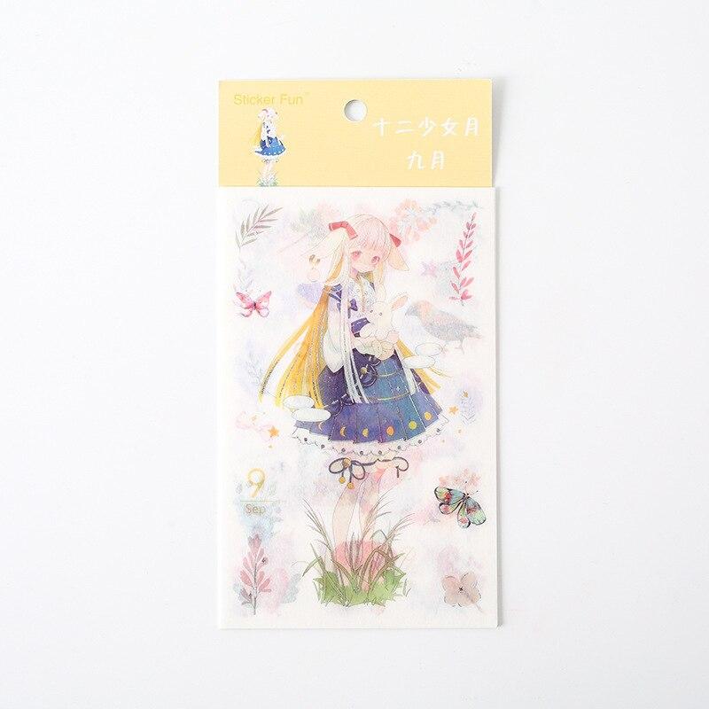 Kawaii Милая наклейка для девочки в стиле декабрина и ветра, декоративная наклейка для ноутбука, декоративная наклейка для рисования, канцелярские товары - Цвет: 9