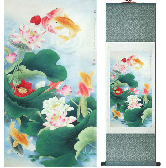 Fish And Lotus Flowers Painting Chinese Traditional Art Painting