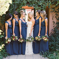 New Design Chiffon v neck cap sleeve Blue bridesmaid dresses with Bow sashes Floor Length vestidos de casamento BMD60
