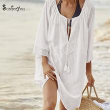 Strój kąpielowy pokrycie koronką Saida de Praia feminino 2019 Tassel plaża przykryć Cotton pareos de Playa mujer sukienka plażowa tunika tanie tanio sunforyou Patchwork Pasuje do rozmiaru Weź swój normalny rozmiar Bawełna Beach dress Swim suit cover up Bathing suit cover up