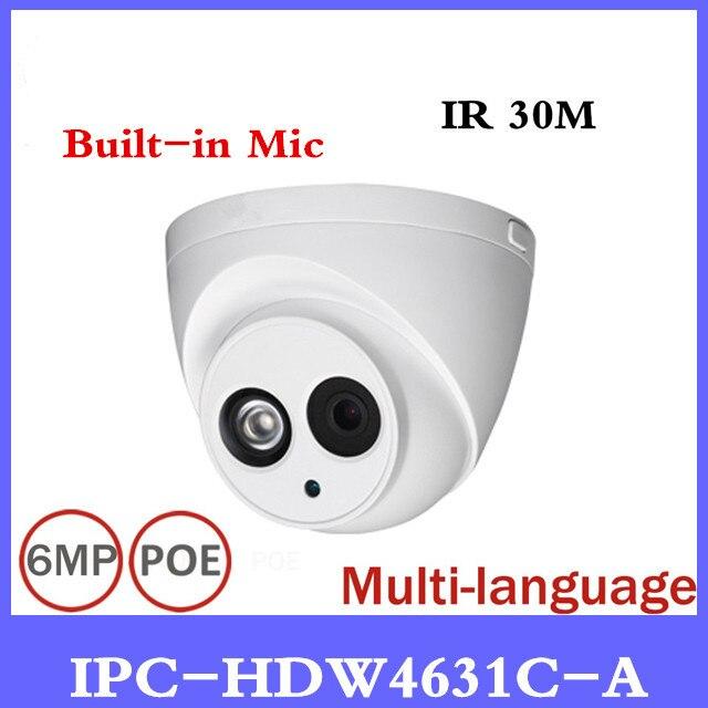 DH IP Камера IPC-HDW4631C-A POE сеть мини купольная Камера со встроенным Micro Full HD 1080p 6MP CCTV Камера Бесплатная доставка