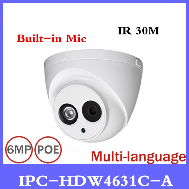 Brand IP Camera IPC-HDW4631C-A POE Network Mini Dome Camera With Built-in Micro Full HD 1080P 6MP CCTV Camera Free shipping free shipping dahua cctv camera 4k 8mp wdr ir mini bullet network camera ip67 with poe without logo ipc hfw4831e se