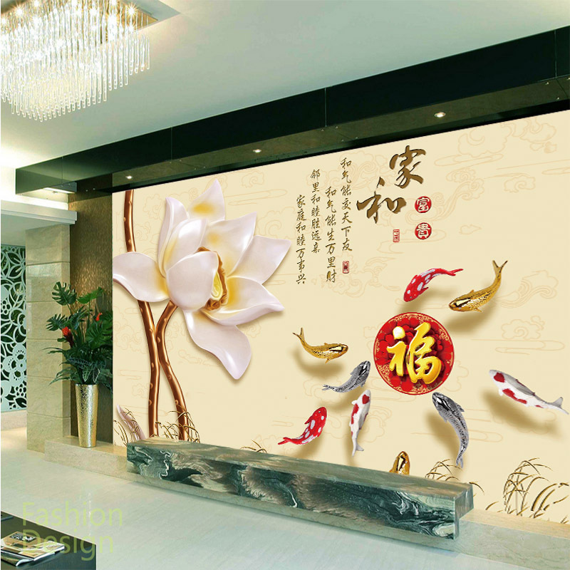 Factory price Customized wallpaper mural lotus pattern scenery with jade carving behind sofa as background livingroom in Wallpapers from Home Improvement