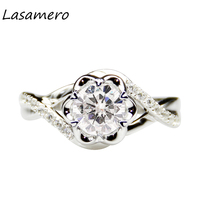 LASAMERO 1 0 Carat Round Cut Moissanites Center 14k White Gold Engagement Ring Anniversary Ring Moissanites