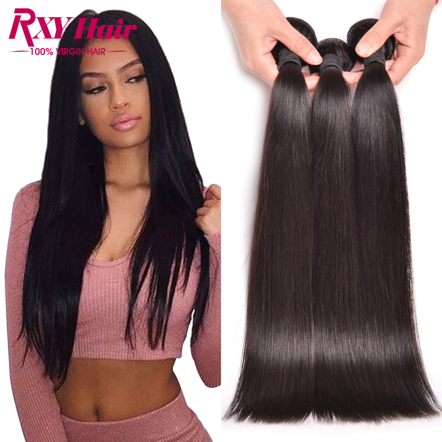 [ Rxy Hair ] Indian Virgin Hair Straight Weave 3 Bundles Raw Indian Human Hair Bundles 8A Straight Virgin Hair