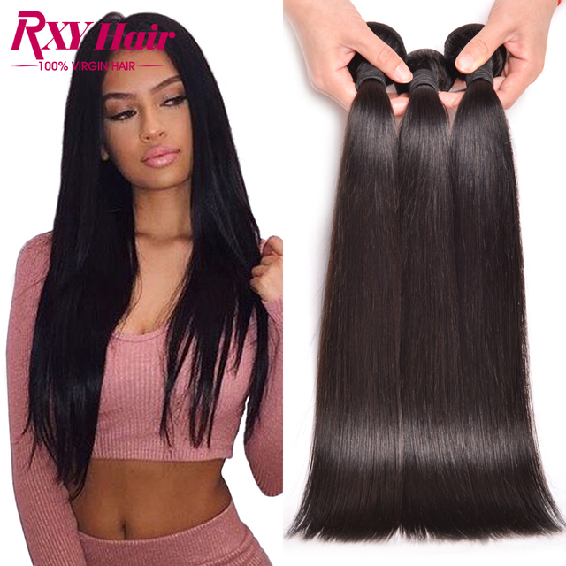 [Rxy Волос] Индийский Девы Волосы Прямые Weave 3 Связки Сырье Индийского Человеческих Волос Связки 8А Прямо Девственные Волосы