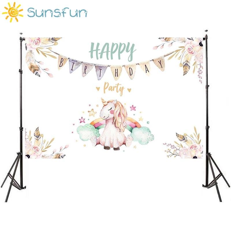Sunsfun Kids Background for Photography Unicorn Flowers Girl Happy Birthday Backdrop Original Design Photocall