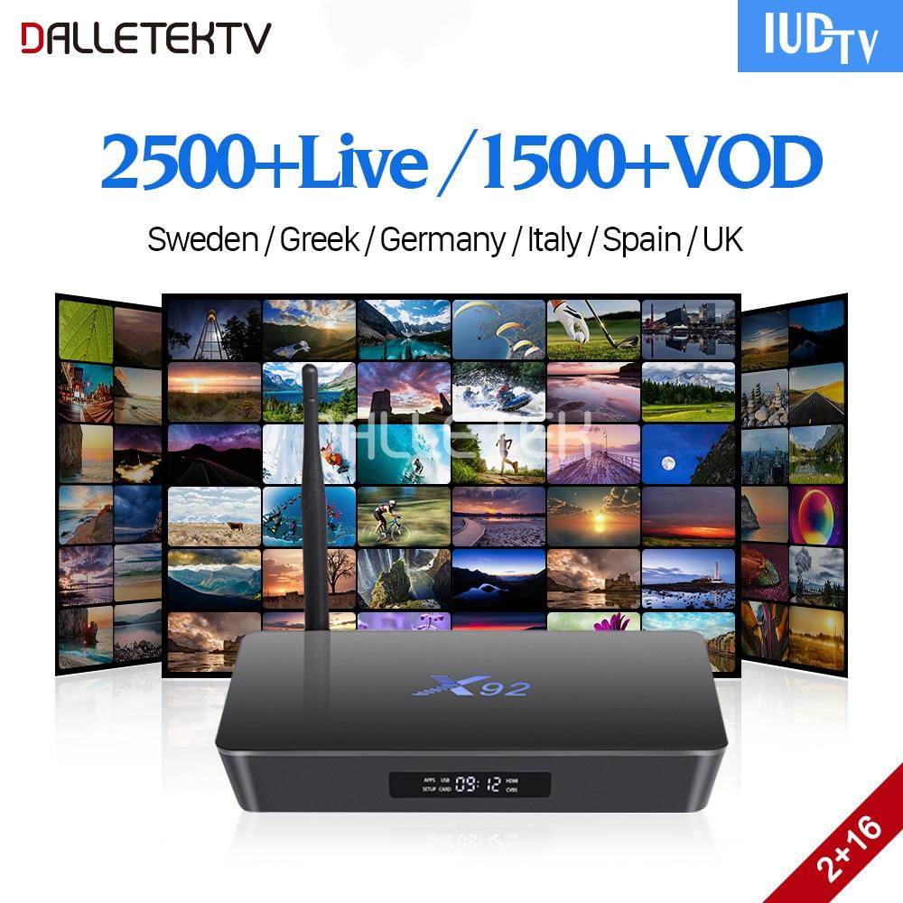 IPTV Subscription Nordic Sweden Italy Spain UK Germany Greek IPTV Box IUDTV Code X92 Smart 4K Android 7.1 TV Box 2GB 16GB S912 цена