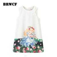 BRWCF Kid Dress For Girls 2017 New Spring Summer Baby Girls Dress Snow White Pattern Pring