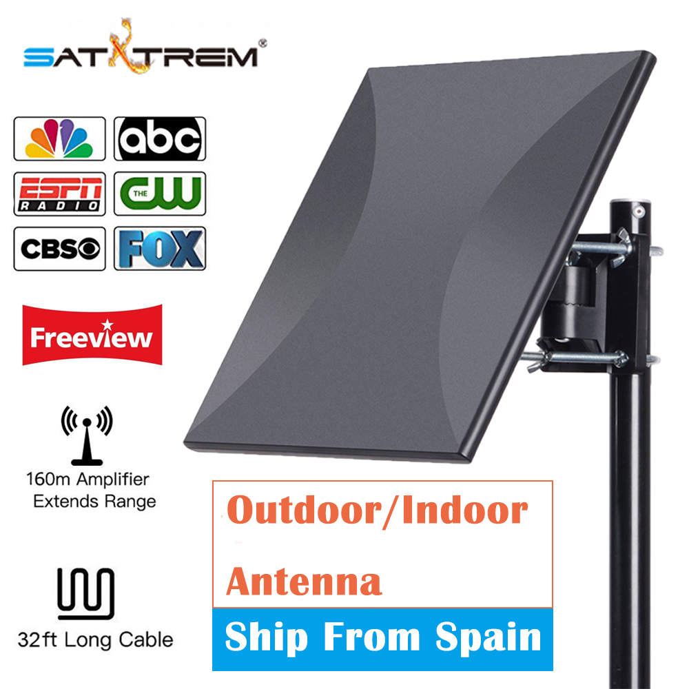 SATXTREM HDTV Antenna Digital 160 Miles Range Outdoor Indoor Signal Reception with Amplifier Booster 32.8ft cable Tv Antenna 2018 new low noise easy installation hdtv tv antenna amplifier signal booster antenna adapter for wholesaler
