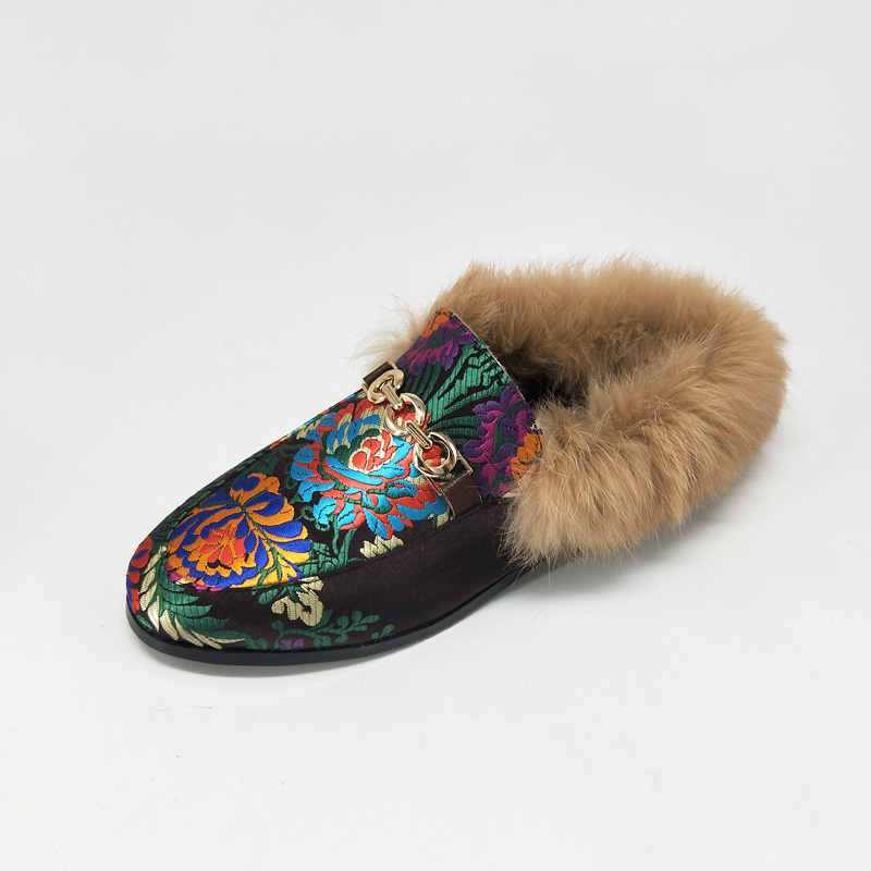 bdc02548ae1d9 Detail Feedback Questions about MNIXUAN Fur mules shoes women 2017 winter  new handmade embroidered silk flats ladies shoes round toe warm short plush  big ...