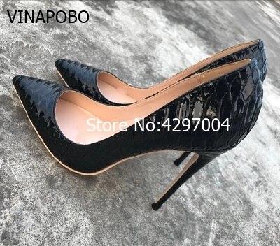Vinapobo Sexy black Snake lines high heels Women Pumps high fashion Slip on Ladies Stilettos pointed