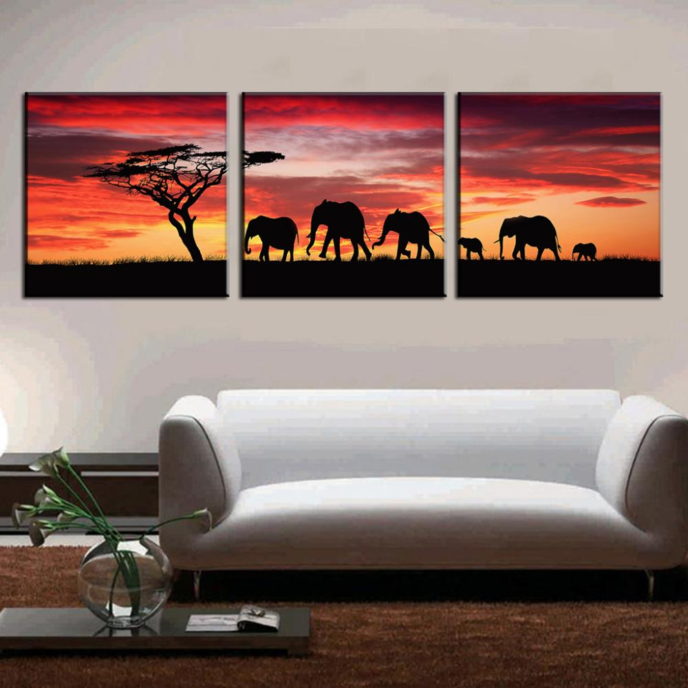 buy 3 pcs set landscape painting wall art pictures african elephants canvas. Black Bedroom Furniture Sets. Home Design Ideas