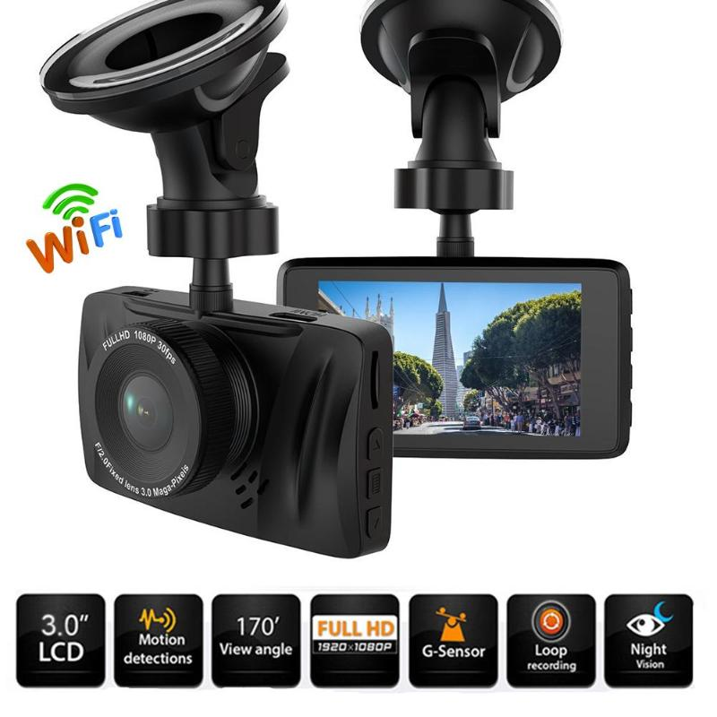 ALLOYSEED 3.0 inch Full HD 1080P WiFi Car DVR 170 Degree Lens Portable Car Camera Video Recorder Night Vision Dash Cam Car DVRS