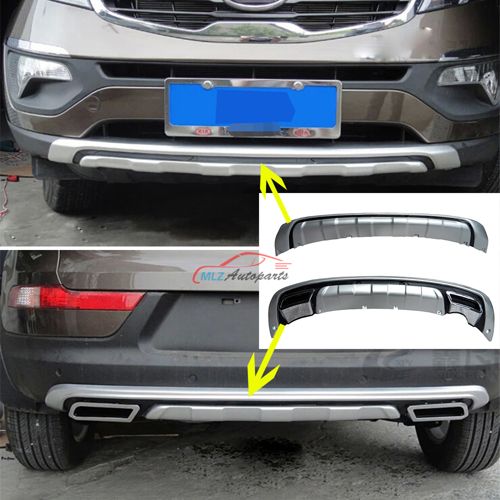 Car styling Front + Rear Trunk Bumper Protector Sill plate cover Guard Trims For Kia Sportage R 2011 2012 2013 2014 2015  more fun for kia sorento l 2016 2017 rear bumper inner outer door sill protector plate 2 pcs set