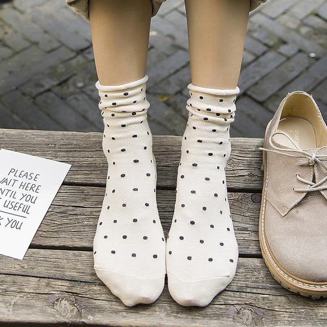 Dot Socks Harajuku Japanese Style Korean Street Style Bohemian 2018 Women Fall Fashion Kawaii Socks Fuzzy Socks Mid Tube Socks
