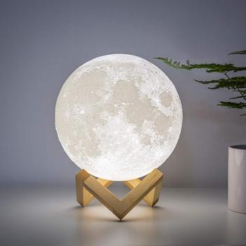 rechargeable 3d print moon light touch switch moon lamp 18cm 20cm led bedside bookcase night light home decororation luminaria Rechargeable 3D Print  Moon Lamp USB LED Night Light Creative Touch Switch Moon Light For Bedroom Decoration Birthday Dropship
