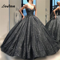 Puffy Spaghetti Straps Evening Dress 2018 New Arrival Unique Fabric Ball Gown Prom Dresses Arabic Middle East Women Party Gowns