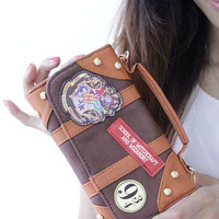 Harry Potter Letter Zip Around Wallet Pu Long Fashion Women Wallets Designer Brand Purse Lady Party