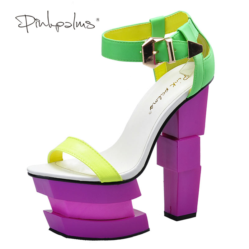 Pink Palms vrouwen zomerschoenen vreemde hoge hak enkelband schoenen - Damesschoenen