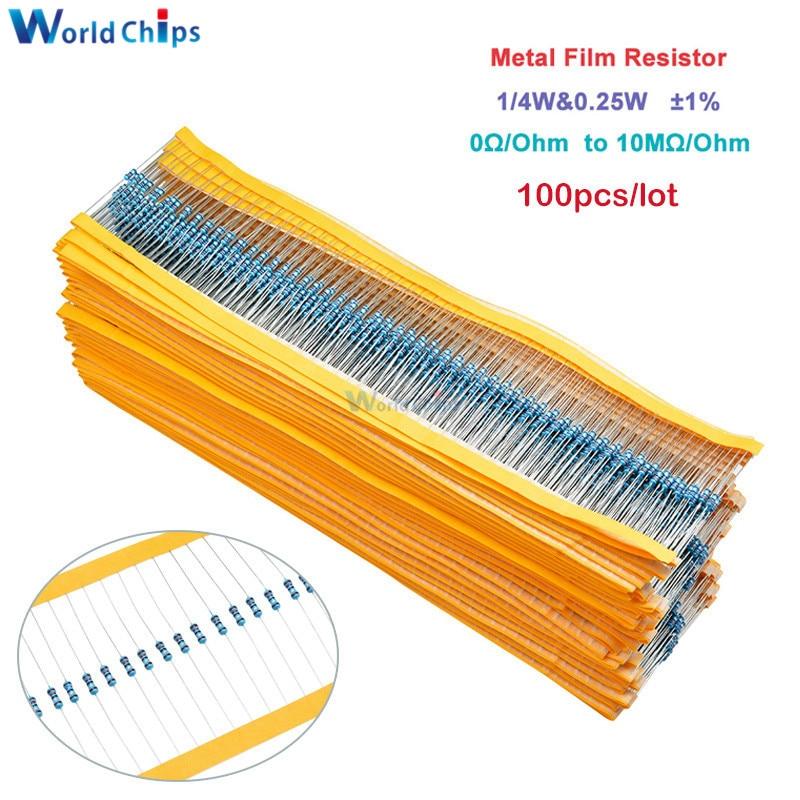 100pcs Metal Film Resistor 1/4W 0.25W 0~10M Ohm 1% 100R 220R 1K 1.5K 2.2K 4.7K 10K 22K 47K 100K 100 220 220 Ohm 1M Resistance(China)