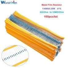 100 шт. металлического пленочного резистора 1/4W 0,25 W 0~ 10 м Ом 1% 100R 220R 1K 1,5 K 2,2 K 4,7 K 10K 22K 47K 100 к 100 220 220 Ом 1 м сопротивление