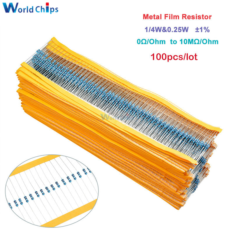 100pcs Metal Film Resistor 1/4W 0.25W 0~10M Ohm 1% 100R 220R 1K 1.5K 2.2K 4.7K 10K 22K 47K 100K 100 220 220 ohm 1M Resistance