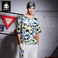 Genanx Brand Half Sleeves Loose Round Collar Han Edition Men S Clothing Dazzle Colour Animal Printed