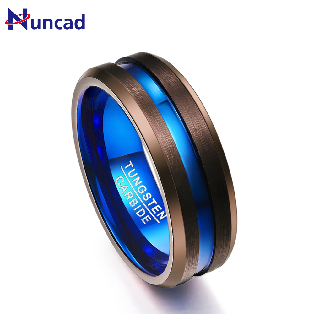 8mm Width Brown Blue Color Men Women Rings Charm Tungsten Carbide Couple Anillos Wedding Bands