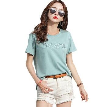 Camiseta con letras bordadas shintimes, camiseta de manga corta de algodón 2019 para mujer, ropa femenina de moda para mujer coreana, camiseta para mujer