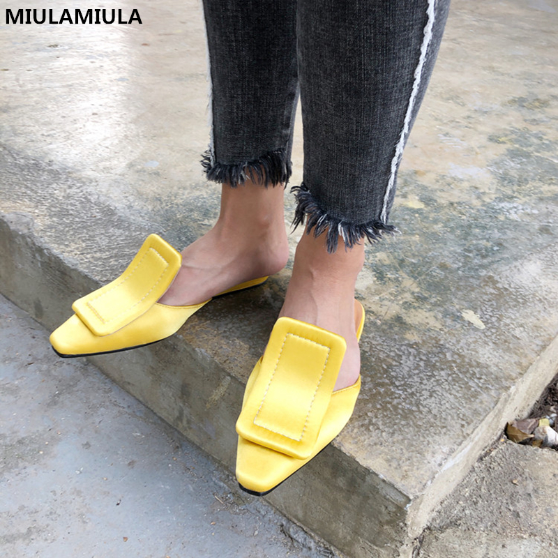 MIULAMIULA Brand 2018 Fashion Generous Square Buckle Flat Silk Slippers Woman Shoes Black Green Yellow Slides Loafers 35-40