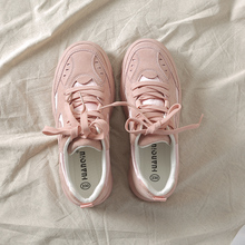 Women Sneakers Pink Solid Color Lace Up 2018 New Fashion Pigskin Woman
